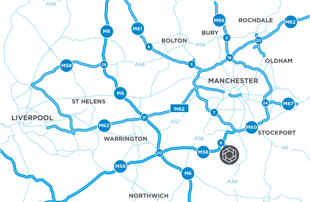 Icon Manchester Airport is located immediately west of Manchester Airport